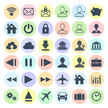 Modern flat icon set of web, multimedia and business icons on a white background Vector