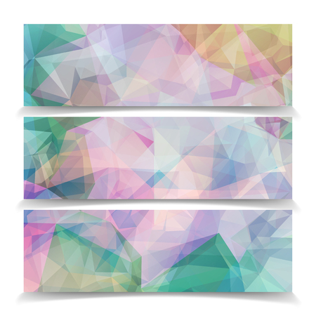 Abstract set banners with Modern Triangular Polygonal pattern Vector