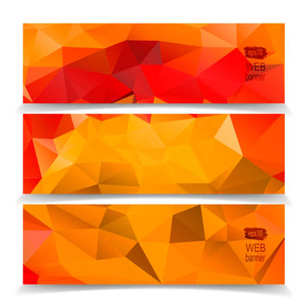 Abstract Orange Triangle Polygonal banner Vector