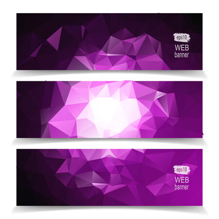 set of Modern Abstract Dark Colorful Triangle Polygonal headers Vector