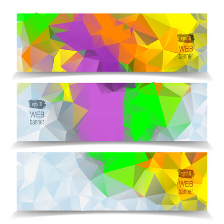 Abstract Colorful Triangular Polygonal header set Vector