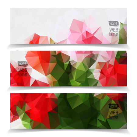 Abstract Natural Colorful Triangle Polygonal banner set Vector