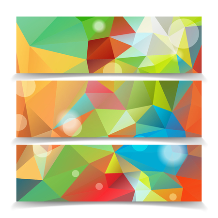 Abstract Colorful Triangle Polygonal header set Vector