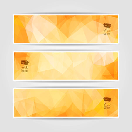 Abstract set vector headers with OrangeTriangular Polygonal  pattern Vector