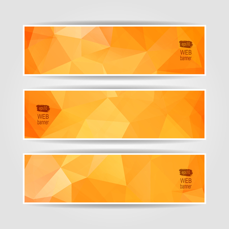 Abstract Orange Triangular Polygonal vector banners set Vector