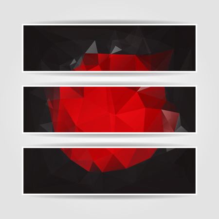 set of Modern Abstract Dark Triangle Polygonal headers Vector
