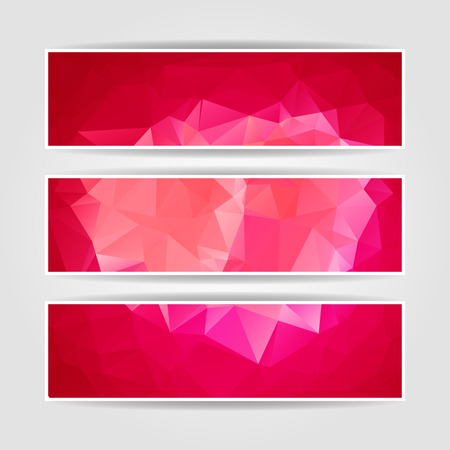 Abstract Pink Triangular Polygonal banners set Vector