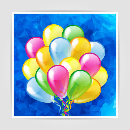 Multicolored glossy balloons isolated on a blue polygonal background Vector