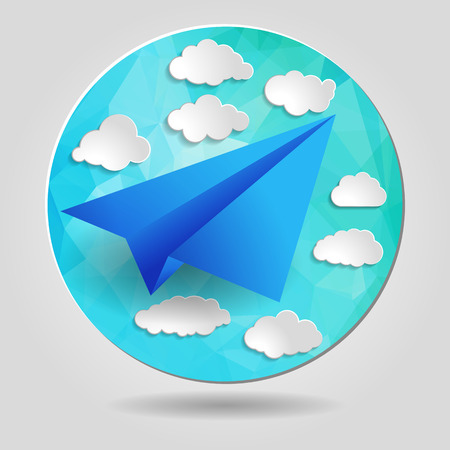 Paper airplane with clouds on the abstract triangular background Vector