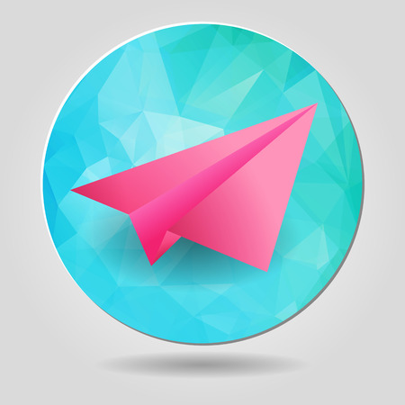 paper airplane on a blue abstract geometric button Vector
