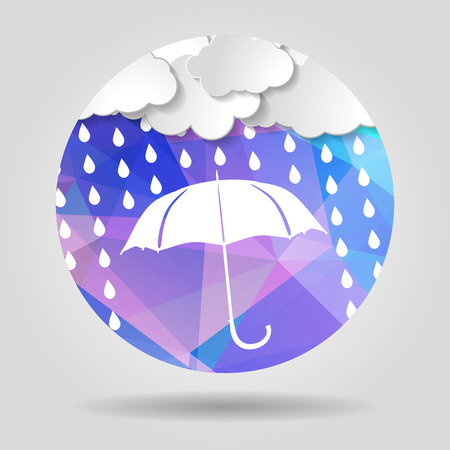 umbrella with clouds and rain drops on the Abstract geometric circular shape with triangular faces for graphic design Vector