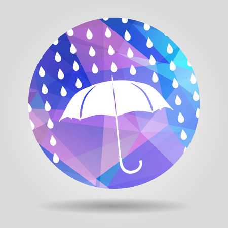 umbrella and rain drops on the Abstract geometric circular shape with triangular faces for graphic design Vector
