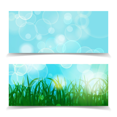 natural spring green Background With Green Grass And bokeh lights banner set. Abstract spring natural header background. Vector