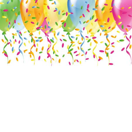 Multicolored balloons with color confetti  Vector