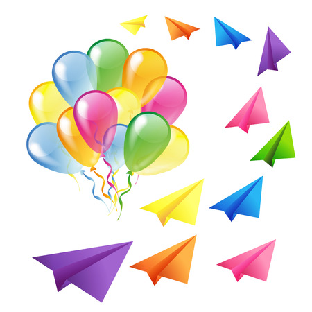 Multicolored glossy balloons and flying colorful paper planes isolated on a white background Vector