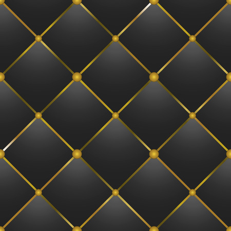 button-tufted black leather background Vector