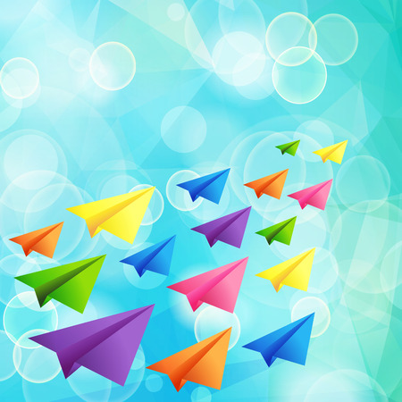 Set of flying color paper planes on the blue blurred background Vector