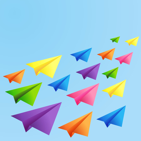 Set of flying color paper planes on the blue background Vector