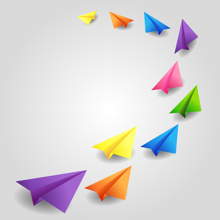 Set of flying color paper planes Vector