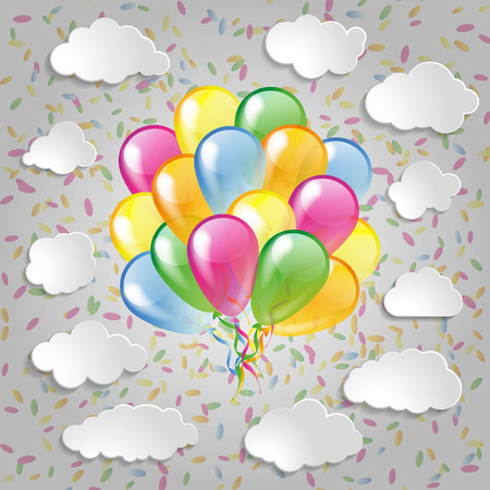 Multicolored balloons with clouds and colorful confetti  a grey background Vector