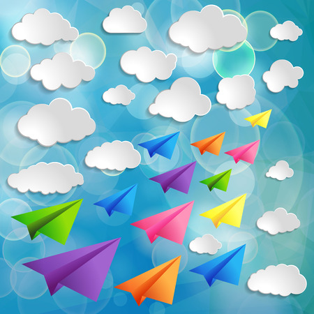 Set of flying colorful paper airplanes with clouds on the blue blurred background Vector