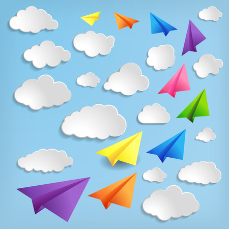 Paper airplanes with clouds on blue background Vector
