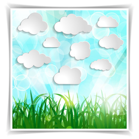 white clouds with grass silhouettes and sun rays on a Natural green abstract Triangle Background Vector