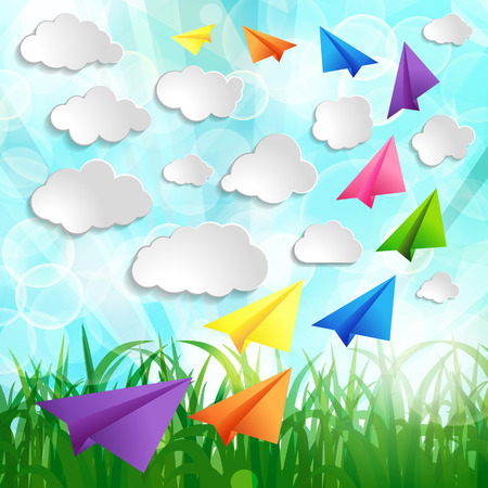 Paper airplanes with clouds on on a Natural green abstract Background Vector