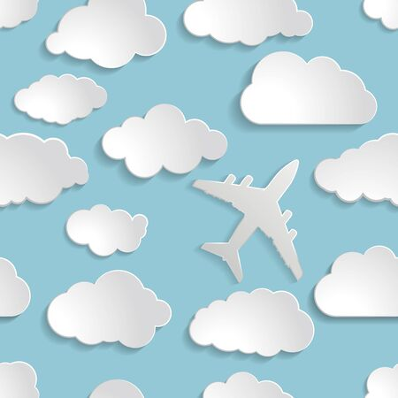 airplane with paper clouds on a blue air Seamless  background Vector