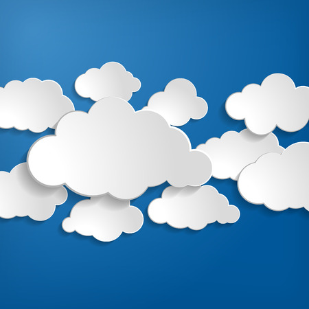 Vector illustration of clouds collection on a blue background Illustration