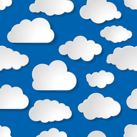blue seamless pattern of clouds collection Vector