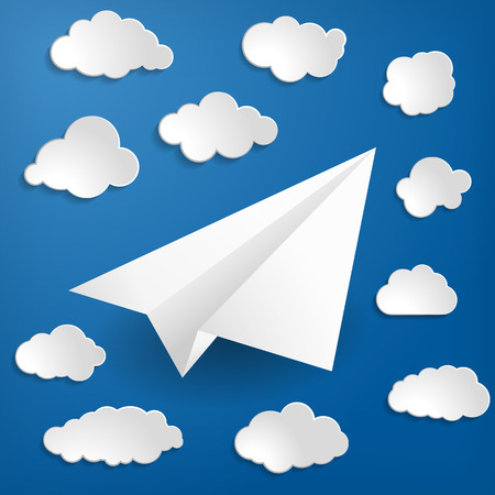 White paper airplane with clouds on a blue background Vector