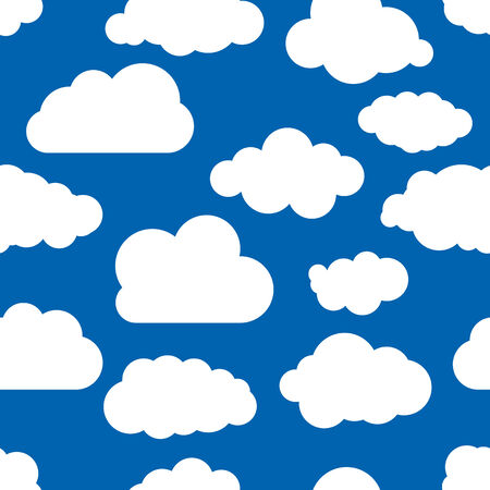 blue seamless illustration pattern of clouds wallpaper Vector