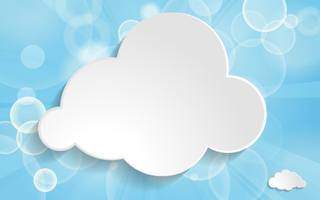 clouds on a blue festive background with light beams Vector