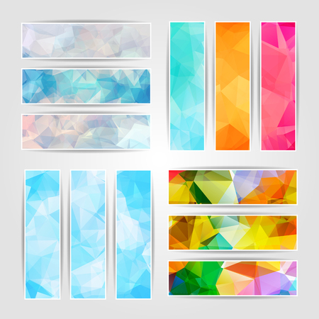 Abstract set of different colorful banners with Modern Triangular Polygonal pattern Vector