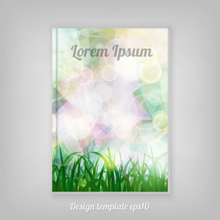 natural spring green Background With Green Grass And bokeh lights cover design. Abstract spring stationery design. Vector