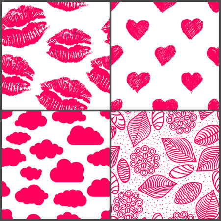 set of romantic seamless patterns with lipsticks prints, doodle hearts, clouds,  flowers, leaves and stones Vector