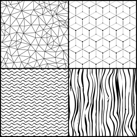 Set of different abstract triangle waves polygonal seamless patterns Vector