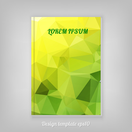 Abstract yellow geometric cover design with triangular polygons Vector