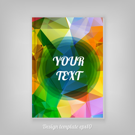 Abstract geometric colorful cover design from triangular faces with minimal round text box Vector