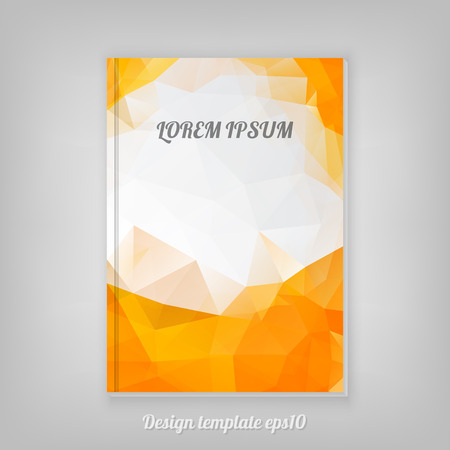 orange texture: Abstract orange geometric cover design with triangular polygons