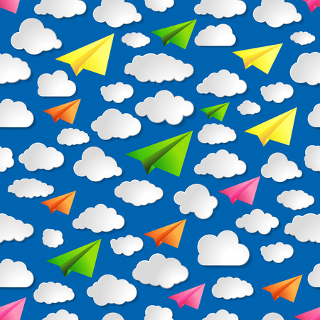 blue seamless illustration pattern of paper airplanes with clouds Vector