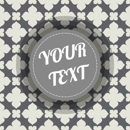 text box design: Classic ornamental geometric abstract seamless pattern illustration with minimal round text box design stock vector illustration