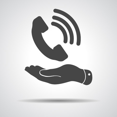flat hand showing black phone receiver icon on a grey background Illustration