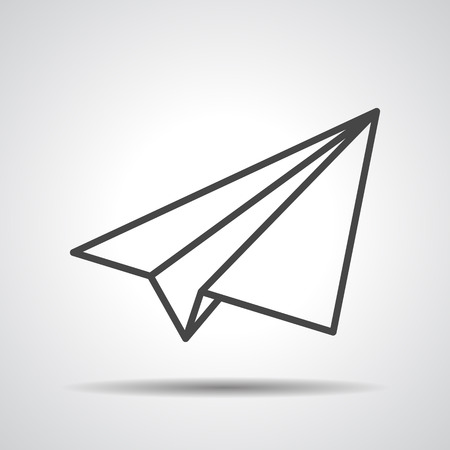 black linear paper plane icon on a grey background Illustration