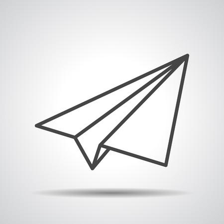 zwarte lineaire papieren vliegtuig pictogram op een grijze achtergrond Stock Illustratie