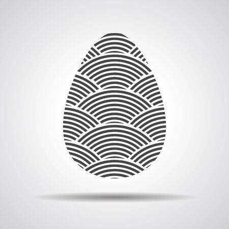 curved lines: Easter egg sign icon with curved lines