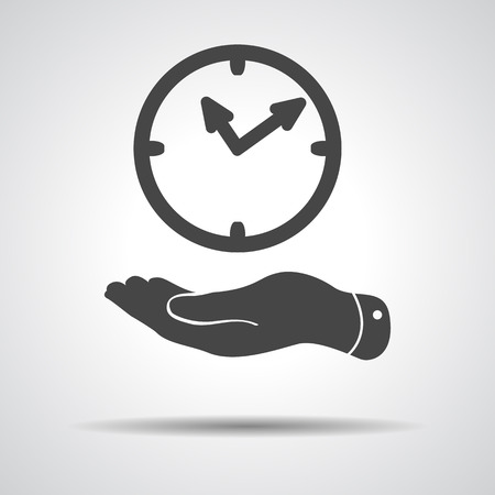 flat hand giving the clock icon