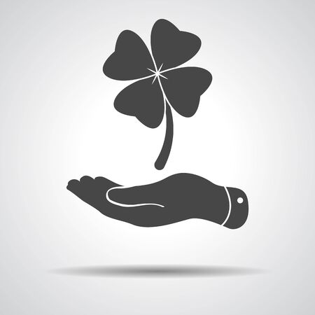 flat hand showing clover with four leaves sign icon on a grey background. Saint Patrick symbol Illustration