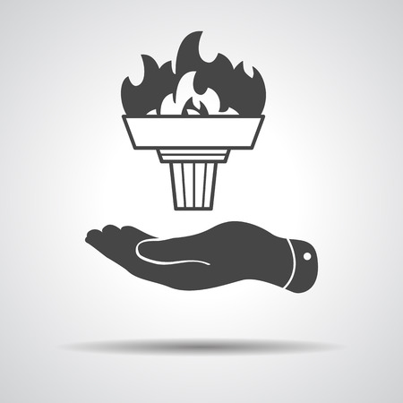 flat hand represents black torch with flame icon Vector